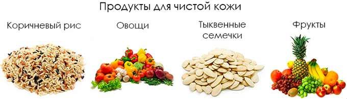 Полезные продукты при появлении прыщей